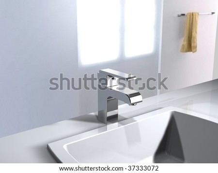 a modern faucet in bathroom - stock photo