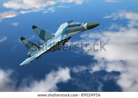 A modern fighter flies on the background of blue sky and clouds - stock photo
