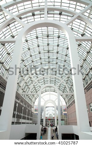 A modern hall in building in Frankfurt - stock photo