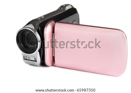A modern HD video camera, isolated on a white background. - stock photo