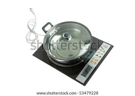 A modern induction stove and a saucepan