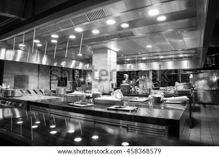 A modern kitchen in a hotel or restaurant