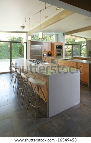A modern kitchen that has been freshly remodeled - stock photo