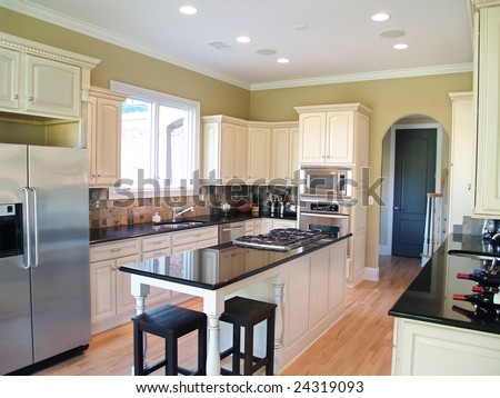 white kitchen cabinets with black granite countertops modern kitchen white cabinets black granite stock photo 28979