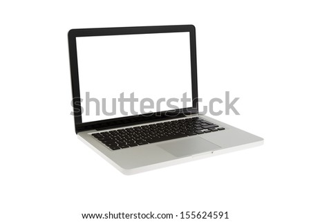 A Modern Laptop isolated on white Background - stock photo