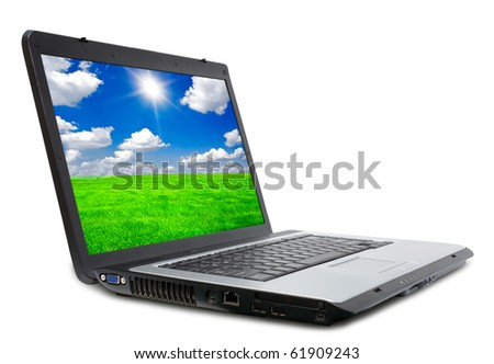 a modern laptop on the white backgraunds - stock photo