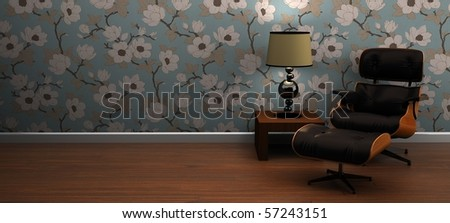 A modern leather lounge chair interior scene - stock photo
