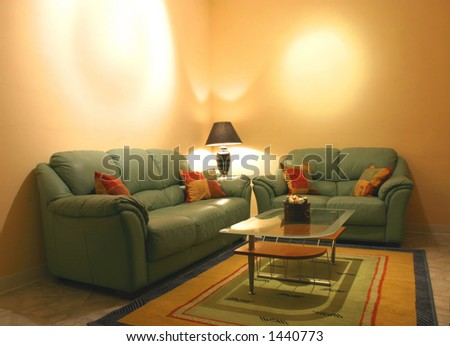 A modern living room with empty walls for general usage.