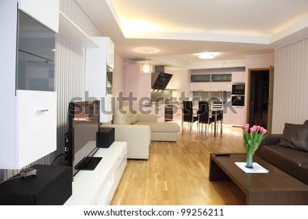 inside lighting. a modern livingroom inside new flat with lighting