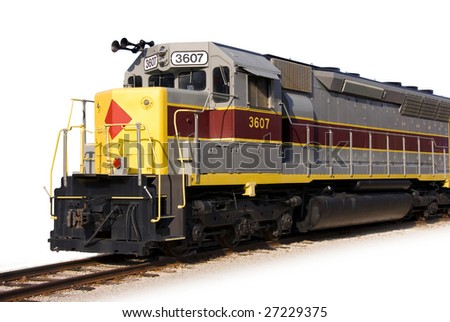 a modern locomotive isolated on white - stock photo