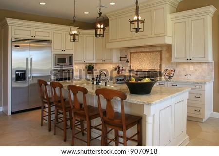 A modern, luxury kitchen. - stock photo