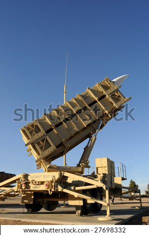 A modern mobile surface-to-air missile (SAM) defense system used by the US and its allies, primarily used as an anti-ballistic missile - stock photo