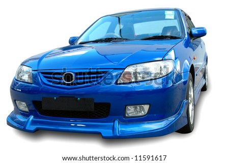 A modern model of a sportive car over white background - stock photo