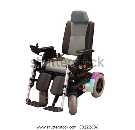 A Modern Motorised Wheelchair for a Disabled Person. - stock photo