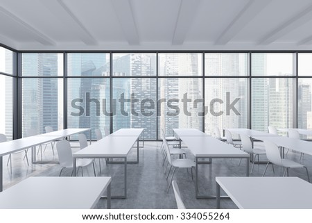 A modern panoramic classroom with singapore view white tables and white chairs 3d rendering