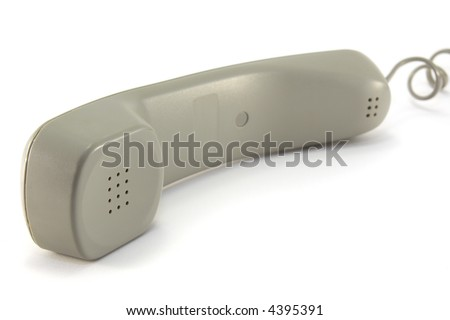 A modern phone handset, isolated on a white background.