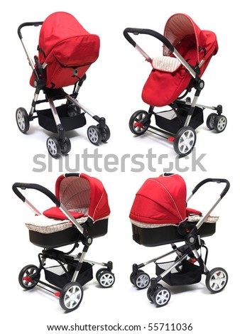 A modern pram isolated against a white background - stock photo