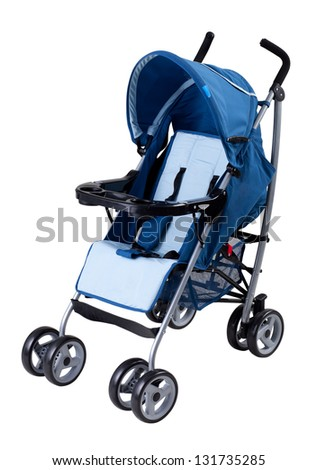 A modern pram isolated on white background - stock photo