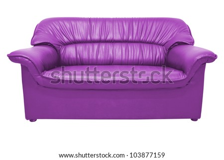 A modern purple leather sofa isolated on the white with clipping path - stock photo