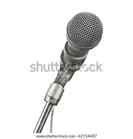 A modern recording microphone isolated on white with copy space. - stock photo