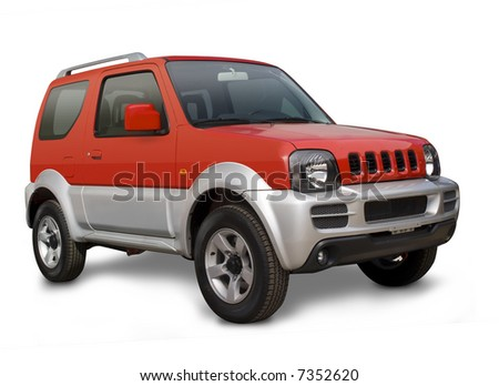 A modern  red and gray four wheel drive car isolated on a white background