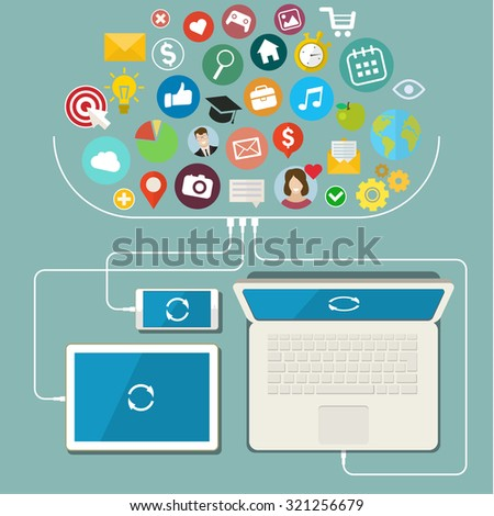 A modern set of infographics and icons Social Media. Flat infographics design. Social network, communication in the global computer networks - stock photo