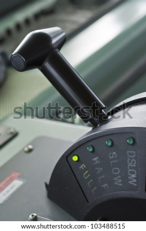 A modern ships telegraph close up - FULL SPEED AHEAD - stock photo