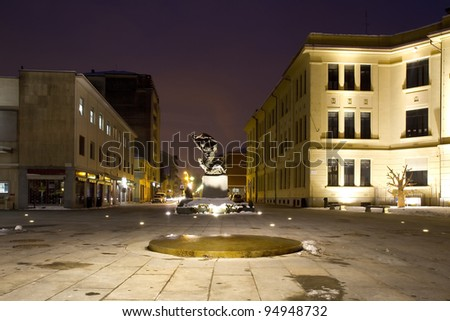 a modern square  of venaria real province of turin, Italy - stock photo