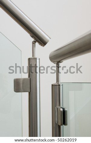 A modern staircase in a newly built property with countryside views - stock photo
