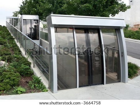 A modern street lift for pedestrians who cannot use stairs. - stock photo