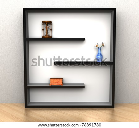 A modern style bookshelf with a few items on it - stock photo