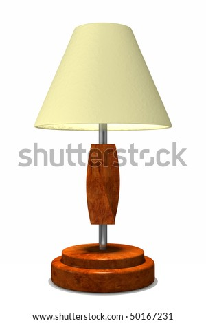 A modern style lamp with wood base and accents and modern chrome pole - stock photo