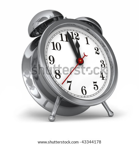 A modern take on the old fashioned wind up alarm clock on white - stock photo