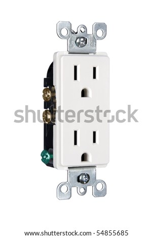 A modern 110 volt electrical power outlet isolated on white