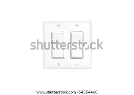 A modern white light switch isolated on white.