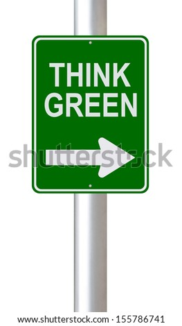 A modified one way road sign on environmental conservation  - stock photo