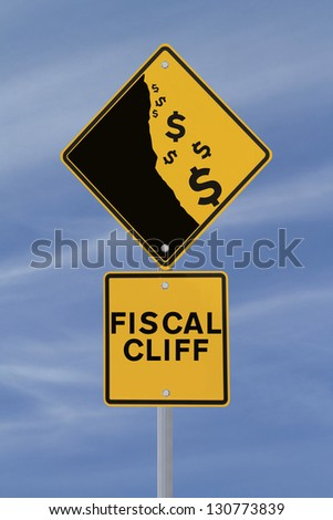 A modified road sign showing the dollar currency falling off a cliff - stock photo