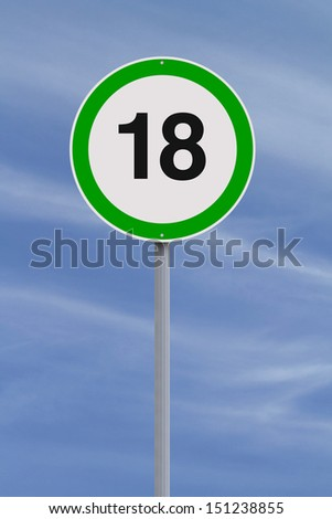 A modified speed limit sign indicating the age of majority of 18