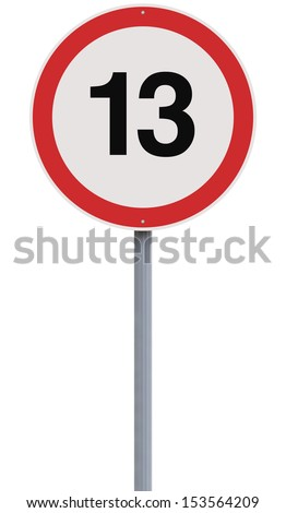A modified speed limit sign indicating the number13