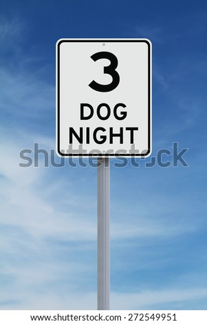 A modified speed limit sign indicating Three Dog Night