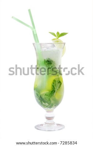 A mohito alcoholic drink over a white background - stock photo