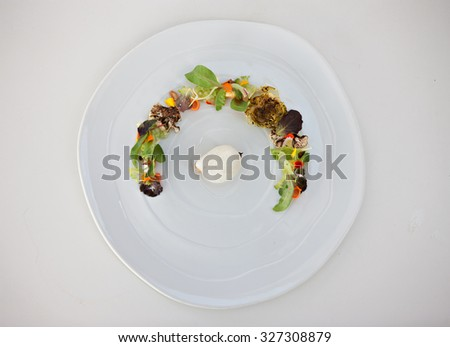 a molecular gourmet salad with  vegetables on plan - stock photo