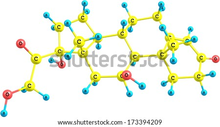 A molecular model of the hormone Hydrocortisone or Cortisol. IT is primarily released from the adrenal gland as a response to stress. Isolated on white.
