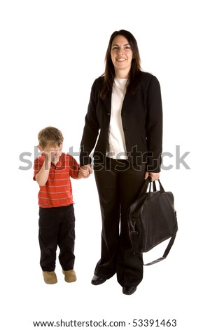 A mom needs to go to work but her son is sad. - stock photo