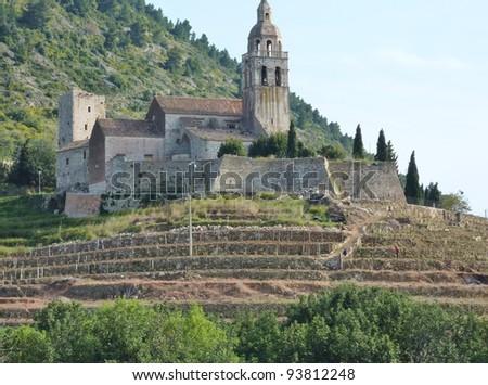 A monastery at the island Vis near the village Komiza in Croatia - stock photo