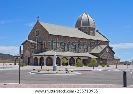 A monastery in the Arizona desert: Our Lady of Solitude Monastery in Tonopah, Arizona, USA. - stock photo