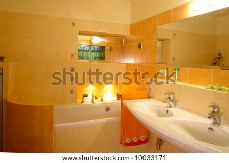 A mondren bathroom with sinks - stock photo