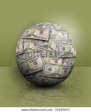 A money ball of fifty dollar bills are on a green background. - stock photo