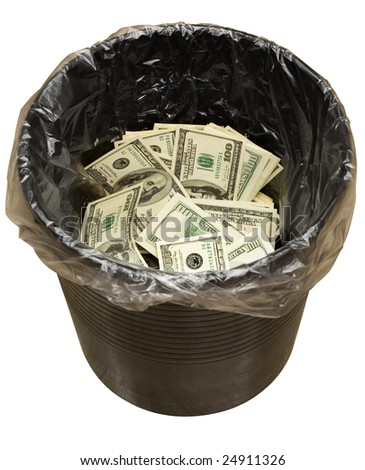 A money is in a trash bucket. Isolated on white [with clipping path]. - stock photo