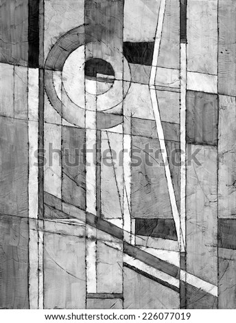 a monochrome abstract painting - stock photo